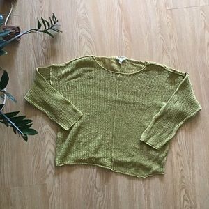 Eileen Fisher mustard yellow open knit sweater
